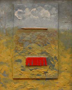 Červené pole, 2007, kombinovaná technika na dřevěné desce, 26×20,5cm
