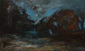 Křoví, 2007, olej na dřevěné desce, 45x75cm