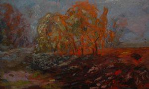 Křoví II, 2007, olej na dřevěné desce, 45,5x75cm