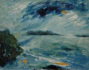 Modré mračno, 2007, kombinovaná technika na dřevěné desce, 43,5×55,5cm