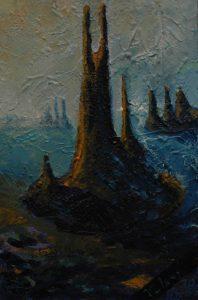Písečné hrady, 2007, olej na plátně, 30x20cm