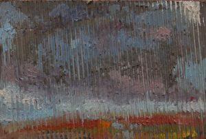 Průtrž mračen, 2007, kombinovaná technika na plátně, 20x30cm