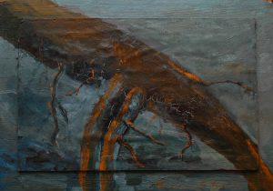 Starý kořen, 2007, olej na dřevěné desc, 33x47cme