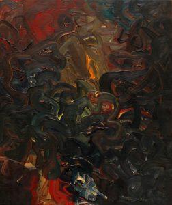 Jedním tahem, 2008, olej na dřevěné desce, 32x27cm