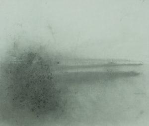 Křoví v mlhavé krajině, 2009, uhel na papíře, 75,5x89cm