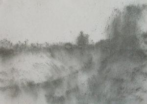 Louka u cesty, 2009, uhel na papíře, 29,7x42cm