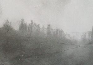 Ráno na kopci, 2009, uhel na papíře, 29,7x42cm