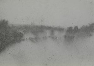 Vítr v krajině, 2009, uhel na papíře, 29,7x42cm