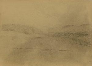 Zamlžená krajina, 2009, uhel na papíře, 29,7x42cm