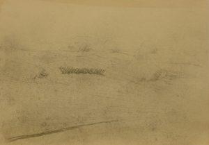 Zamlžené křoví, 2009, uhel na papíře, 29,7x42cm