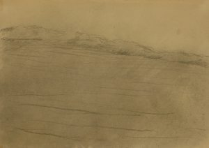 Zamlžené pole III, 2009, uhel na papíře, 29,7x42cm
