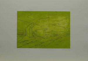 Zeleno černá procházka, 2009, 35,5×50,cm, Litografie Náklad 5