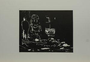Dalibor v koksovně, 2010, 35x50cm, Linoryt Náklad A.T.