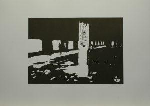 Máša v koksovně, 2010, 50x70cm, Linoryt Náklad 6