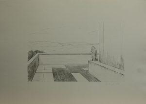 Na vyhlídce u pomníku, 2010, 35x50cm, Suchá jehla Náklad A.T.
