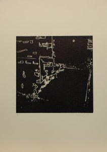 Pobořená zeď, 2010, 50x35cm, Linoryt Náklad 5
