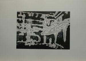 Potrubí na zdi, 2010, 50x70cm, Linoryt Náklad 6