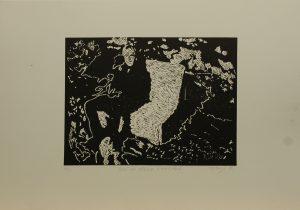 Sedí na křesle v koksovně, 2010, 35x50cm, Linoryt Náklad 2