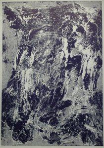 Víření fialové struktury, 2010, 100x70cm, Tisk z výšky ze suché barvy Náklad 7