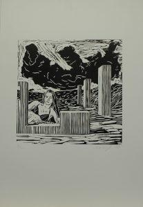 Žena v krajině sloupů, 2010, 50x35cm, Linoryt Náklad 2