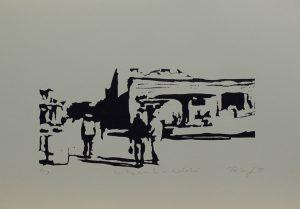 Zákazník a kolotoč, 2010, 25×35,5cm, Linoryt Náklad 3