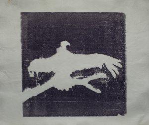 Na větvi, 2011, 60x70cm, Tisk z výšky z polystyrenu na filc Náklad 3