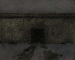Brána, 2013, uhel, pigmenty a akryl na plátně, 20x30cm