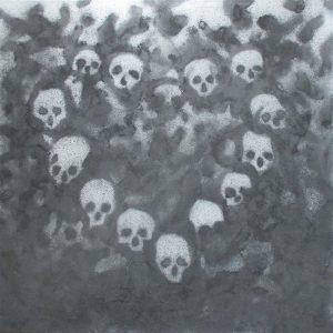Hrobníkovo vyznání lásky II, 2013, uhel a akryl na plátně, 100x100cm