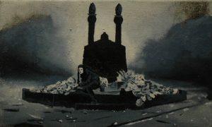 Múza hřbitovních rostlin, 2013, olej a pigment na plátně, 30×50,5 cm