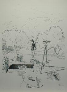 Múza kopáče hrobů, 2013, 100x70cm, Sítotisk Náklad 8