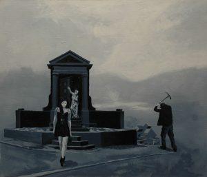 Múza kopáče hrobů, 2013, olej na plátně, 60,5×70,5 cm