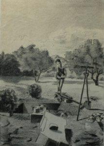 Múza kopáče hrobů, 2013, uhel na filcu, 70,5×50,5 cm