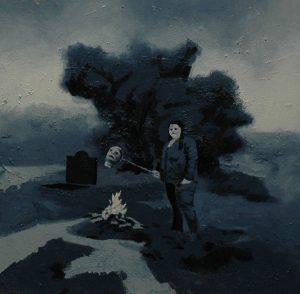 Múza kremace, 2013, olej a pigment na plátně, 40×40 cm