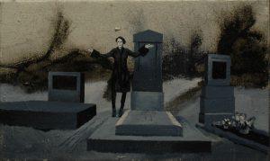 Múza pohřbu, 2013, olej a pigment na plátně, 30,5×50,5 cm