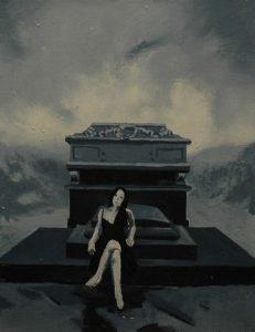 Múza rodinných hrobů, 2013, olej na plátně, 40×30,5 cm