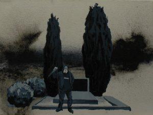 Múza smrti, 2013, olej a pigment na plátně, 30×40 cm