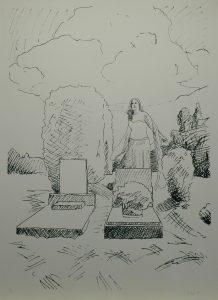 Múza urnových hrobů, 2013, 100x70cm, Sítotisk Náklad 9