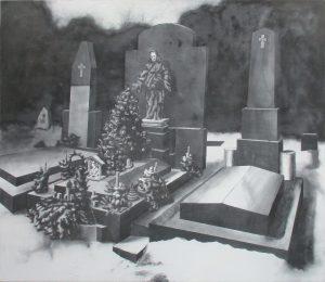 Vánoce na hřbitově II, 2013, uhel na plátně, 130x150cm