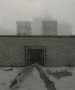 Vězeňská brána II, 2013, uhel, pigmenty a akryl na plátně, 60x50cm