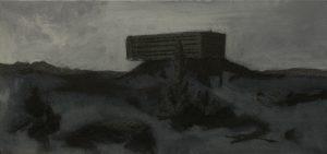 Vysuté vězení II, 2013, uhel, pigmenty a akryl na plátně, 40×85,5cm