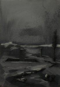 Vzdušné vězení II, 2013, uhel, pigmenty a akryl na plátně, 50,5x35cm