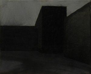 Zákoutí nádvoří, 2013, uhel, pigmenty a akryl na plátně, 20x30cm