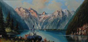 Jezerní paní, 2014, olej na plátně, 40x80cm