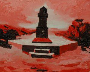 Červený hrob, 2014, olej na plátně, 20x30cm