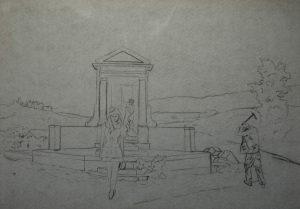 Jedno odpoledne na hřbitově, 2014, uhel na filcu, 70x100cm