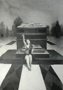 Kristýna na hrobě, 2014, uhel a akryl na plátně, 100,5x70cm