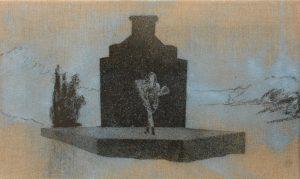 Lůca na hrobě, 2014, uhel a pigmenty na plátně, 30×50,5cm