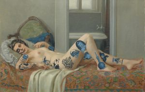 Miss tattoo, 2014, olej na plátně, 56,5x86cm
