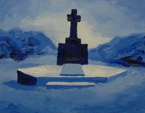 Modrý hrob, 2014, olej na plátně, 20x30cm
