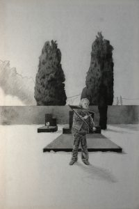 Múza Smrti, 2014, uhel na filcu, 150x100cm